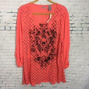 New Directions Womens Plus 2X Coral Tunic Blouse